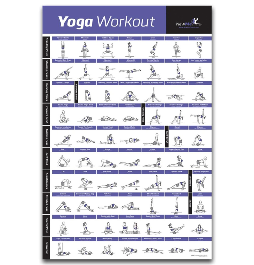 FX089 Hot GYM Body Fitness YOGA Pose Home Exercise Muscle Health Chart Poster Art Silk Light