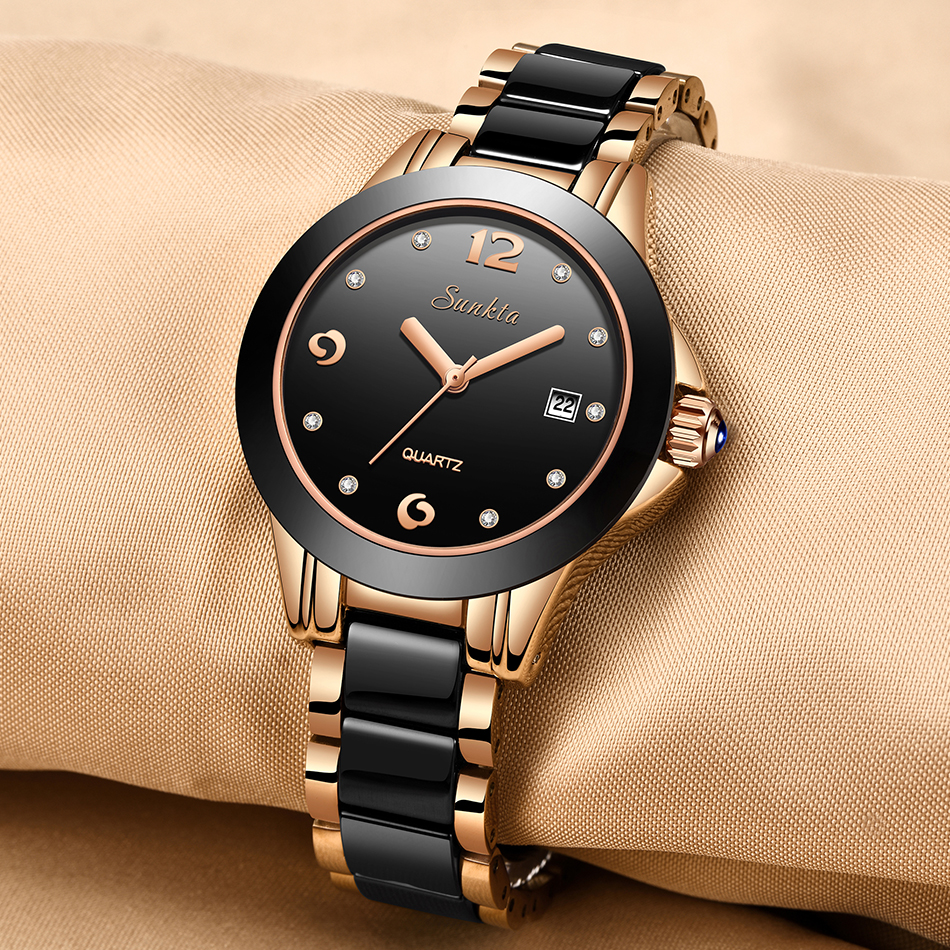 Sunkta moda feminina relógios rosa ouro senhoras