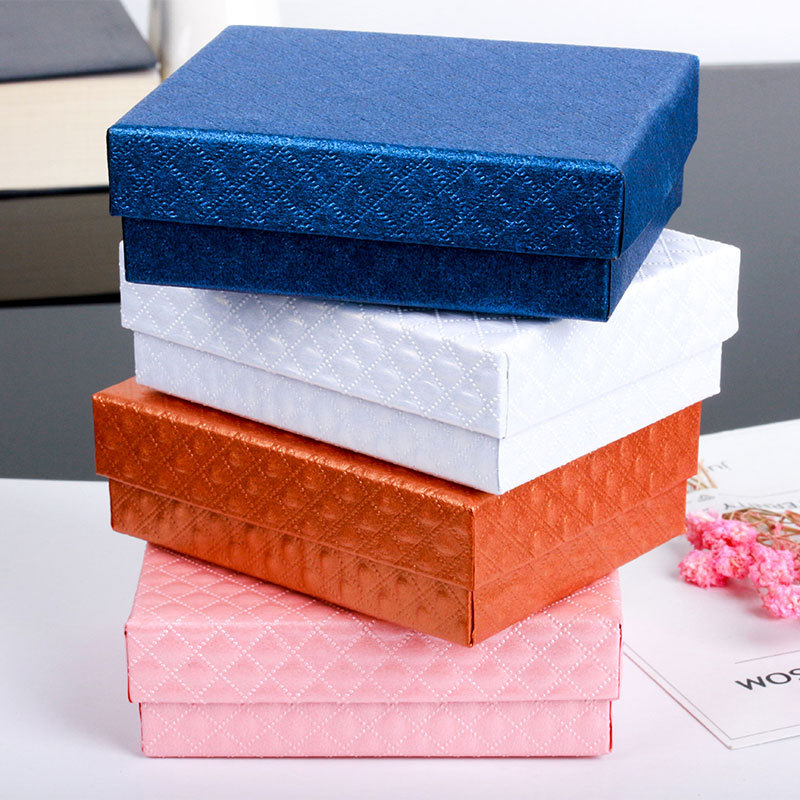 Black Liner Sponge 6 Solid Colors Gift Paper Boxes Carrying Display Cases Jewelry Packaging box for Earrings & Bracelets Rings