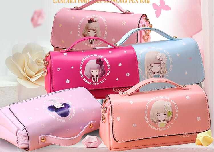 Novelty Pu Leather flower girl school pencil case Cute large capacity pen bag Stationery pouch office school supplies material mini s size pencil bag pencil case pen stationery storage art school office home supplies transparent pens holder fashion gifts