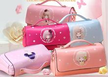 Фотография Novelty Pu Leather flower girl school pencil case Cute large capacity pen bag Stationery pouch office school supplies material