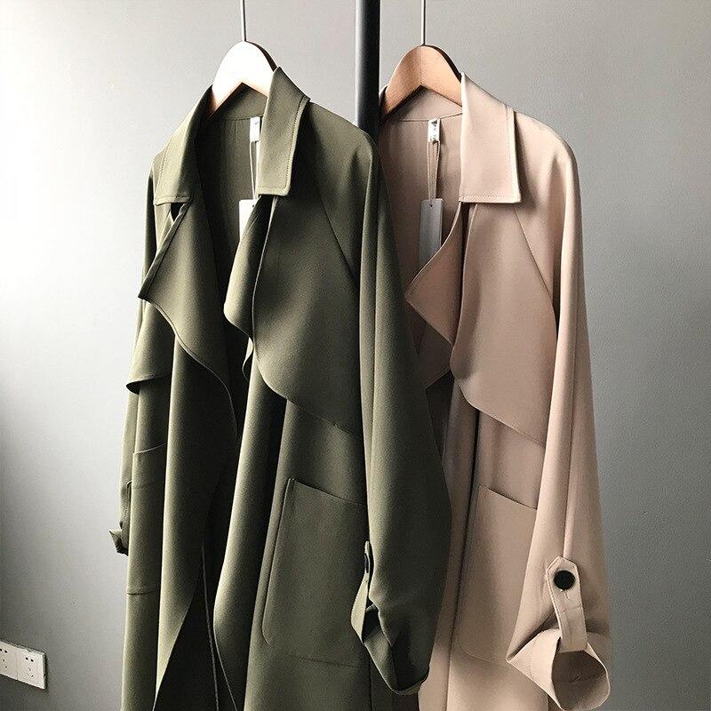 19 Spring Women Long Coat Turn Down Collar Harajuku Women Army Green Trench Coat Casaco Feminino Abrigo Mujer Trench Femme 5