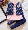 2016 Nueva ropa Del Bebé Establece niños 3 UNIDS capa + camiseta + Pants niños Princesa Linda Impresión en forma de Corazón Del Arco niña trajes