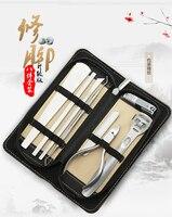 8 pcs kit Faca Pedicure Cuticle Clipper Lixa de Unhas Nail Art Unhas Utility Clipper Kit aço Inoxidável Ferramenta Do Cuidado Do Prego FT09