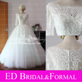 Real Sample Lace Sleeve Wedding Dress Scalloped Bateau  Neckline Three Quarter Sleeve Wedding Gown