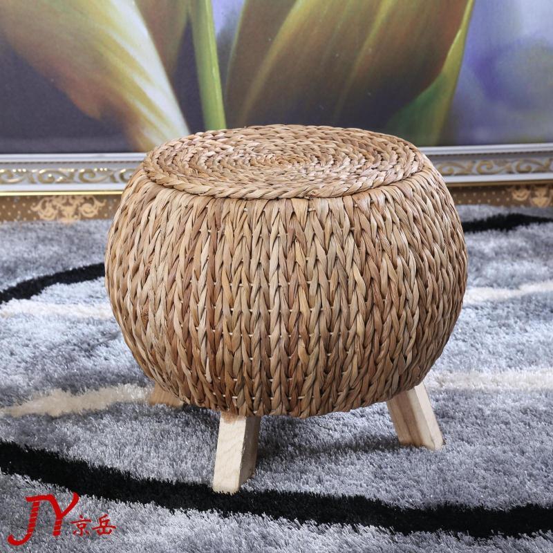 Sensational Straw Stool Fashion Creative Rattan Sofa Ottoman Stool Wood Theyellowbook Wood Chair Design Ideas Theyellowbookinfo