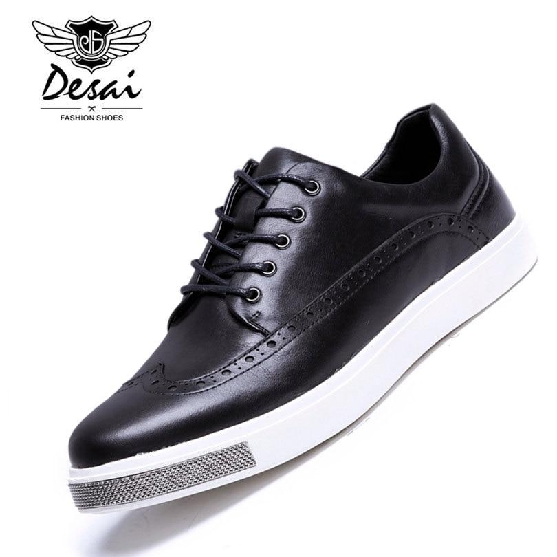 DESAI Brand 2017 New Arrival Men's Casual Shoes Men Genuine Leather Shoes Brogue Shoes Men's Fashion Shoes Size 38-43 desai brand mens sandals genuine leather shoes fashion summer men slippers breathable casual shoes leather man ds968