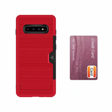 Card Slot Shockproof TPU PC Brushed Dual Layer Armor Cover Mobile Phone