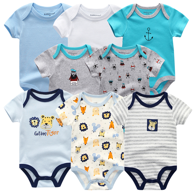 8PCS Baby Boy Summer Clothes Baby Romper Newborn Jumpsuit Roupa Infantil Clothing Set