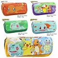 Cartoon toy Pokemon Pikachu monster Bulbasaur Charmander Charmeleon Squirtle Poppo Pijon SpearowPencil Case PU Zipper Pencil Bag