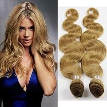 Honey Blonde Peruvian Hair Body Wave 100% Human Hair Weave Wavy Bundles Color 27# Grade7A Peruvian Virgin Hair Extension GB212