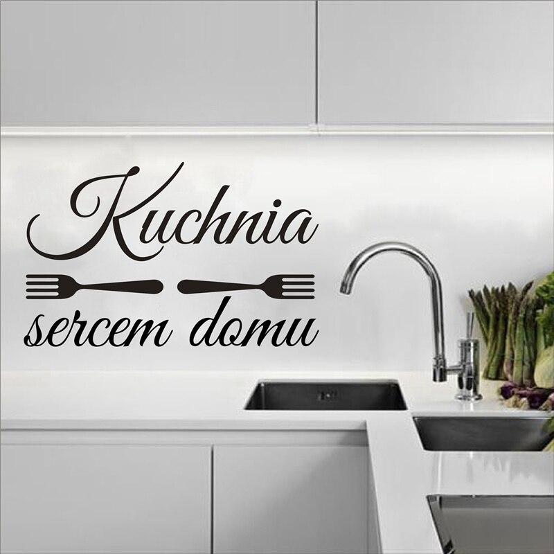 Us 491 30 Offdekoracja Kuchni Kuchnia Sercem Domu Naklejka Winylowa Poland Wall Art Decals Kitchen Is The Heart Of The House Vinyl Stickers In