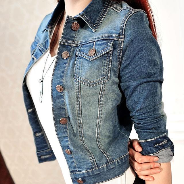 Más nuevas mujeres de la Moda Casual de Manga Larga Chaqueta de Mezclilla Pantalones Vaqueros Chaqueta Abrigo Corto