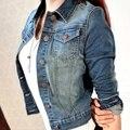 Mais novas das Mulheres de Moda Casual Manga Longa Jaqueta Jeans Calça Jeans Casaco Curto Casaco