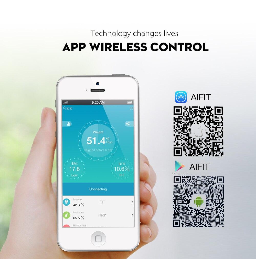Balança Inteligente de Bioimpedancia Eletrônica de Medida de Gordura Corporal Bluetooth App Android Ios - SmartBalance