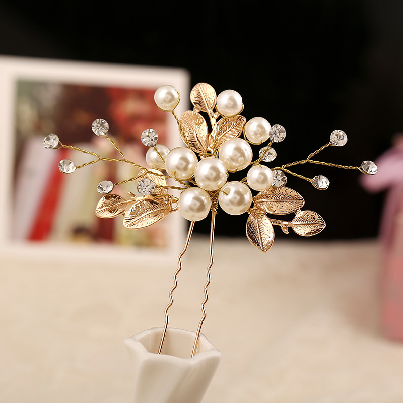 Vintage gold crystal bridal hairpins handmade leaves Wedding Handmade Flower Bridal Hair Pin Pearl Wedding Accessories Headpiece