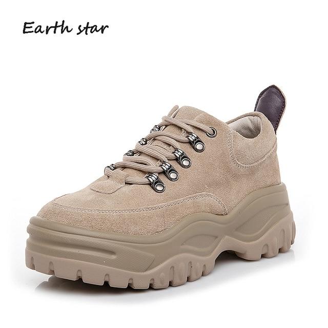 Rahat ayakkabılar Kadın Moda Marka Platformu Sneakers Hakiki Deri zapatos de mujer Bahar Yeni Bayanlar ayakkabı Haki Tüm Maç