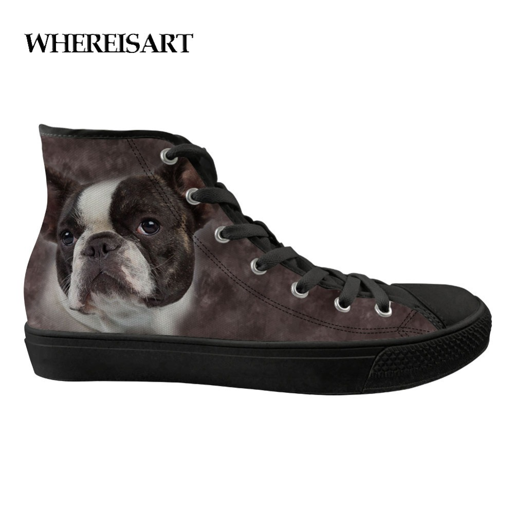 Audacious Whereisart Fashion High Top Men Shoes Bulldog Prinied Mens Vulcanize Shoes Sewing Black Classic High-top Canvas Shoes Teen Boys Be Friendly In Use Men's Shoes