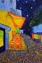 Famous Van Gogh Oil Painting Reproduction Cafe Terrace at Night Hand Painted Abstract Canvas Wall Art  Picture Home Decoration