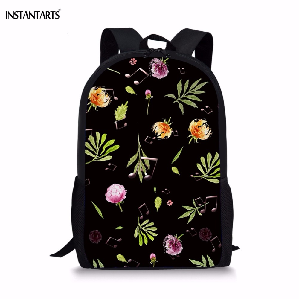 INSTANTARTS Tropical Leaves/Music Notes Printed Backpacks for Teens Girls Casual Lap Top Rucksacks Students Children's Knapsacks tropical leaves wall sticker