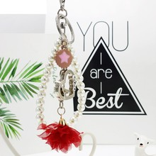 OTOKY Hot Sale 1 pc Heart-shaped Tassel Pérola Keychain Saco do Anel Chave Do Carro Chave Do Carro Pingente de Pelúcia Para presente Mar16(China)