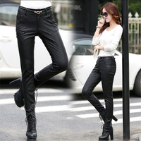Women Pu Leather Pants Slim Fit Fashion Straight Pants For Women Autumn Spring Long Pu Pants
