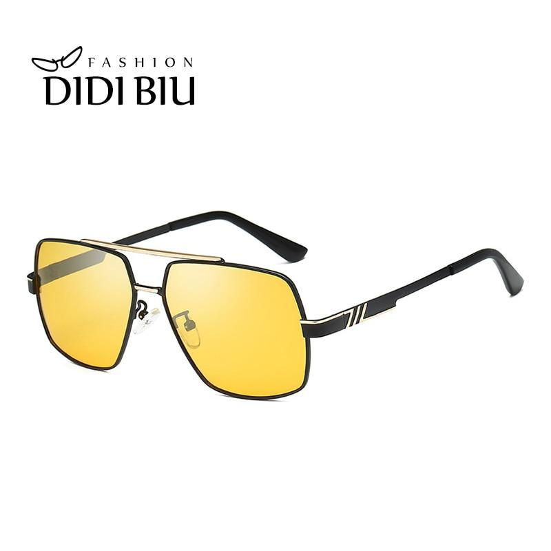 DIDI Day & Night Vision Photochromic Polygonal Sunglasses Men Brand Yellow Lens UV Protection Shade Driving Glasses Oculos HN892
