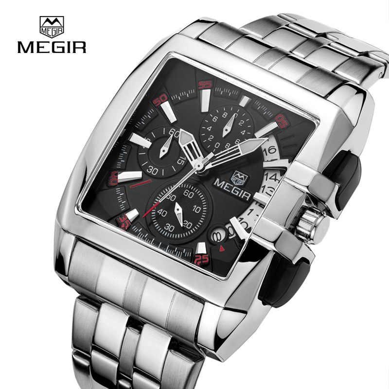 גברים שעון קוורץ-MEGIR תאריך נירוסטה הכרונוגרף שעון גברים שעונים למעלה מותג יוקרה ספורט שעוני יד relogio masculino