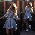 2016 Плюс Размер Осень Женская Busas платье отложным Воротником Топ Повседневная Полосатый Дизайн Кнопки Блузки Платье 800081