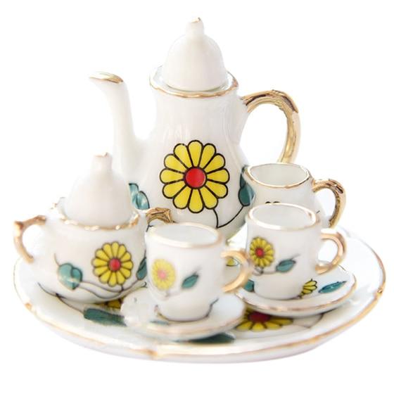 Home Friendly 1/6 Dollhouse Miniature Porcelain Coffee Tea Cup Set #e Refreshing And Enriching The Saliva