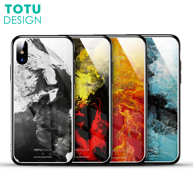 TOTU Glass Phone Cases For iPhone X 10 Case Tempered Glass Back Cover Hard PC Coque For iPhone 8 7 Plus Case Luxury Fundas shell