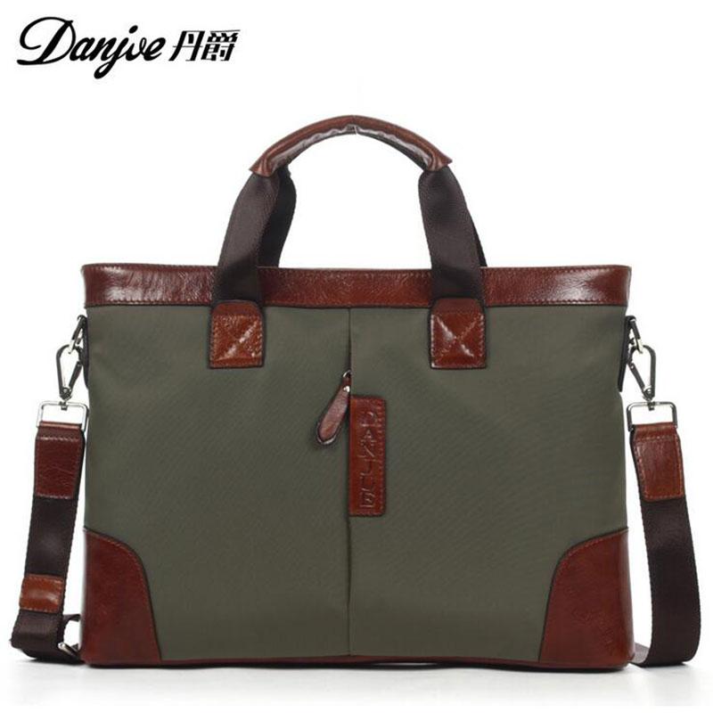 2016 DANJUE ArmyGreen Style For 14 Laptop Fashion Transverse Shoulder Bags High Quality Genuine Cowhide Solid Laptop bag DJ12