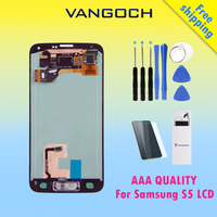 100 Super Amoled Original LCD For Samsung Galaxy S5 LCD Display Touch Screen Digitizer I9600 SM