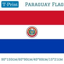 Free shipping 90*150cm/60*90cm/40*60cm/15*21cm Paraguay Polyester Flag 5*3FT