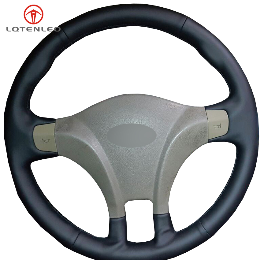 LQTENLEO Black Genuine Leather DIY Car Steering Wheel Cover for Chery Fulwin 2 2010 2012 Cowin