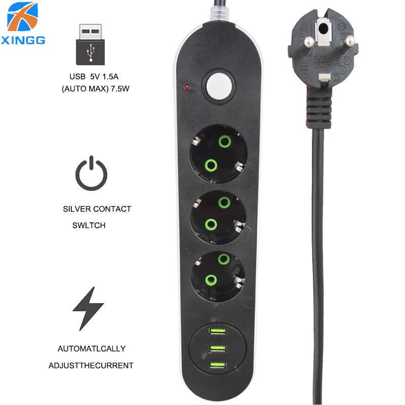 Red de enchufe de la UE de carga rápida USB Power Strip Universal cable de extensión eléctrica protector de sobretensión con enchufes de la Oficina para el hogar