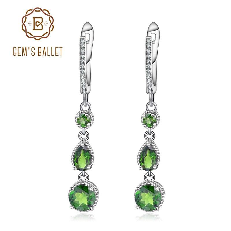 GEM S BALLET 3 46Ct Natural Chrome Diopside Gemstone Drop Earrings Genuine 925 Sterling Silver Earrings
