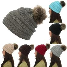Winter Women's Hat Girls Knitted Beanie Caps with Cute Faux Fur Pom Pom