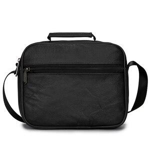 Image 4 - HUANILAI  Men Genuine Leather Bags Messenger Bag Men Shoulder Bag  Crossbody Bags Black Retro Multifunction Handbags TY008