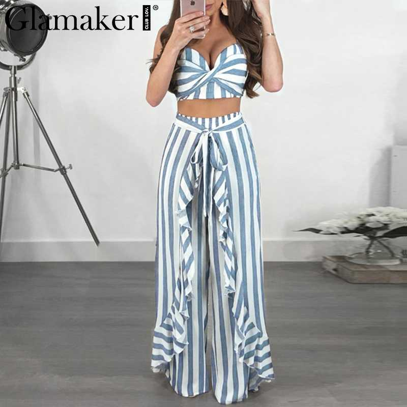 Glamaker Striped strapless women jumpsuit rompers summer cropped ruffle long playsuit Two-piece suit sash sexy jumpsuit overalls