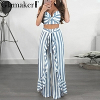 Glamaker Striped strapless women jumpsuit rompers summer cropped ruffle long playsuit Two piece suit sash sexy jumpsuit overalls