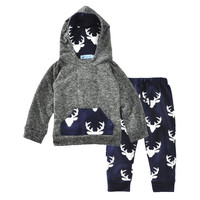Newborn Baby Clothing Set Fall Baby Hoodies Long Pant Boy Outfit Elk Print Festival Newborn Outfit