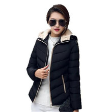 2016 New Winter Big Yards Women Down Padded Jacket Fashion Removable Hooded Wadded Jacket Slim Short Outerwear Coat Jacket A1817