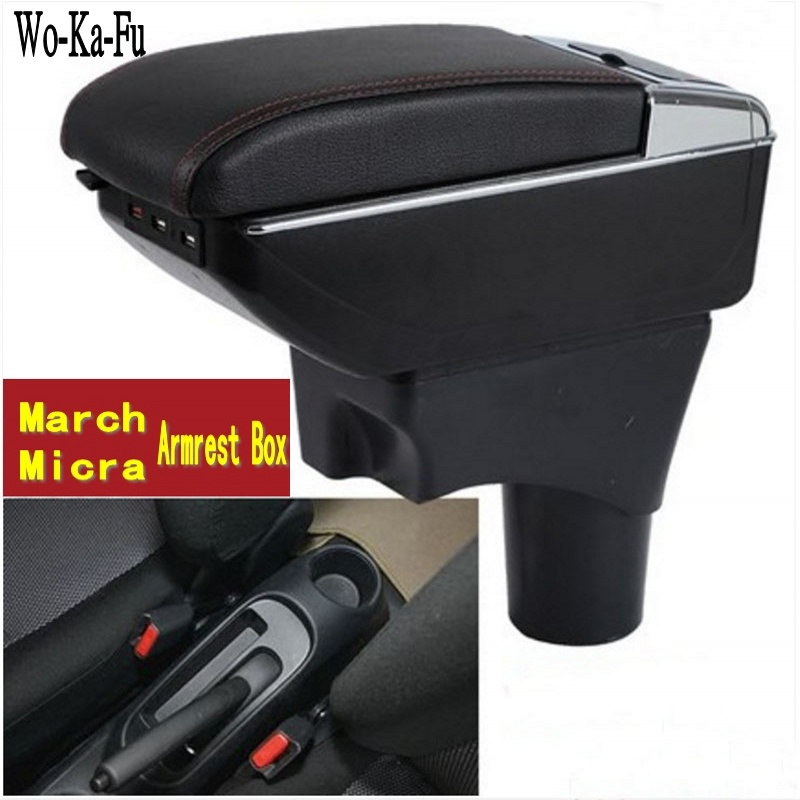 For Nissan March Micra K13 MK4 IV armrest box central Store content Storage box with cup holder ashtray USB interface 2010-2017