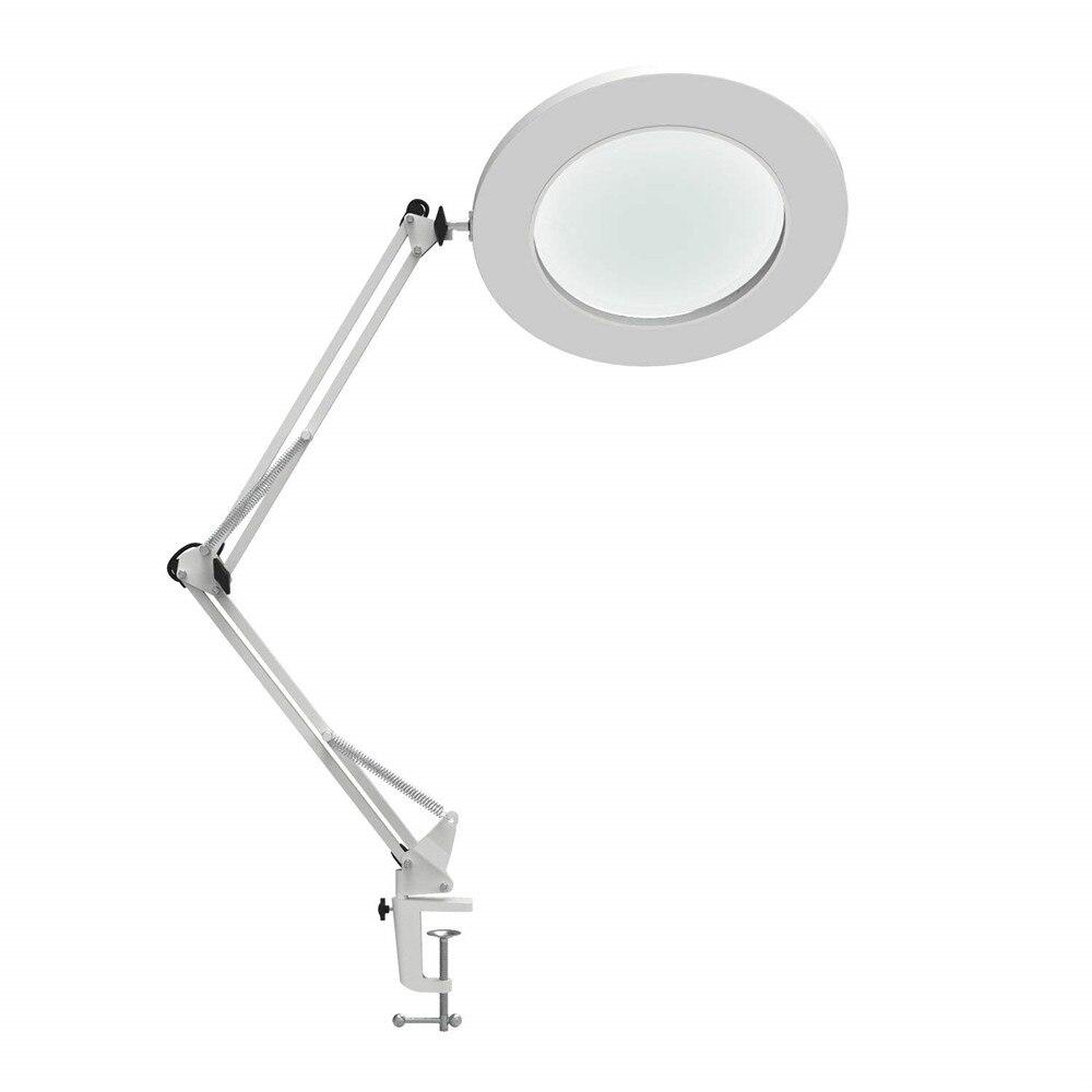 7 W LED lámpara de aumento abrazadera de Metal oscilación brazo escritorio lámpara Stepless atenuación 3 colores lupa lámpara LED 5X 4,1