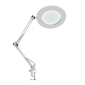 "Image 1 - LED מגדלת שולחן מנורת מתכת מהדק נדנדה זרוע שולחן Stepless עמעום 3 צבעים 7W זכוכית מגדלת אור 3X,4.1 ""קוטר עדשת אדריכל"