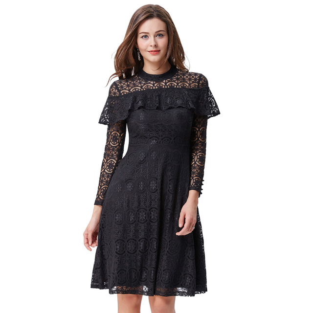 47577861a199 Kate Kasin Women Lace Dress Black Wine High Neck Ruffled Button Long Sleeve Vintage  50s Party Casual Work Office Dresses Vestido