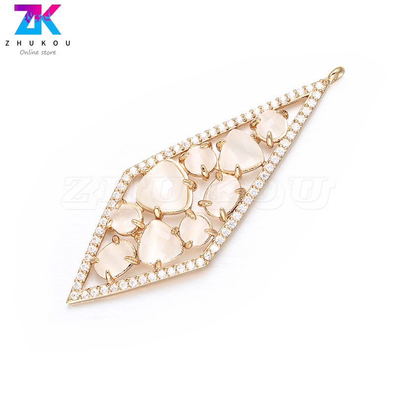 ZHUKOU 20x56mm charms for Bracelets&Necklace Jewelry Accessories Making handmade Diamond Earrings Pendant VD385A hole:1.2mm