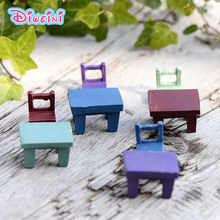 Simulation Square Wooden Table Chair Model Miniature Figurine Pretend play Kitchen Toy Doll House DIY Accessories gift Baby Gift