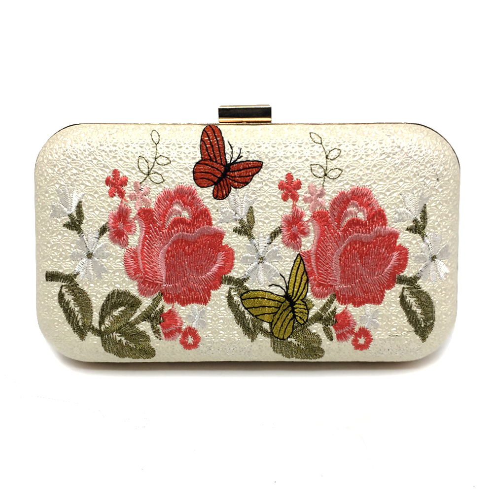 Evening Leather Clutch,Antiquity Printing Banquet Bag With Chain Strap Oblique Cross Cheongsam Bag Wedding Party Prom